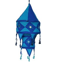 Blue color Small cotton jhumar lamp shade
