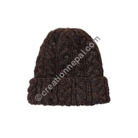 Cable design woolen cap - Brown