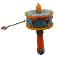 Amber and stone Medium prayer wheel
