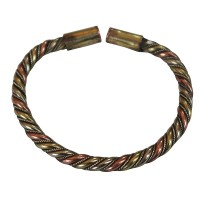 Braided mixed metal simple bangle2