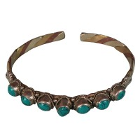 7-turquoise beads mixed metal bangle