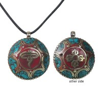 Wire and stones Buddha Eye pendent