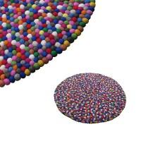Felt balls round rug - 100 cm