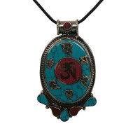 Turquoise-coral large size mantra pendent