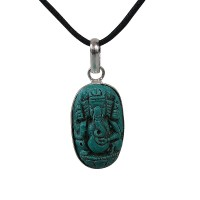 Turquoise color tiny Ganesha pendent
