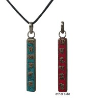Coral-turquoise Mantra vertical pendent