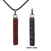 Coral-Lapis Mantra vertical pendent