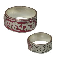 Carved white metal Mantra finger ring2