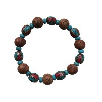 Decorated and natural beads wristband