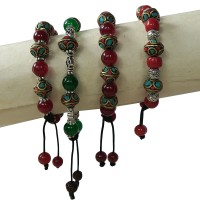 Jade, Onyx, decorated assorted beads bracelet