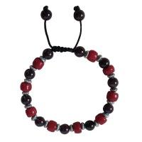 Garnet and coral beads bracelet
