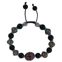 Black onyx and decorated beads bracelet