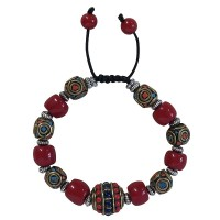 Coral and decorated beads bracelet