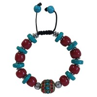 Turquoise disc and coral beads bracelet
