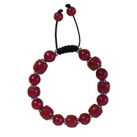Red onyx-coral beads bracelet