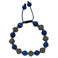 Lapis and decorated 10mm beads bracelet