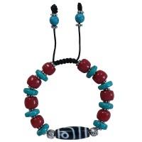 Turquoise-coral with Dzi bracelet