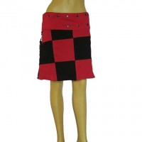 Black-Red patch reversible skirt