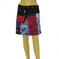 Printed patch work open skirt