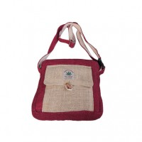 Hemp simple red shoulder bag