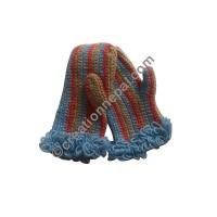 Vertical stripes crochet mitten