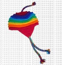 Rainbow woolen ear hat