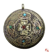 White metal or brass filigree mandala pendant