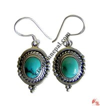 Silver balls and turquoise earring