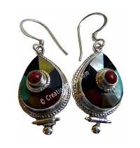 Tibetan tear drop Earring 1