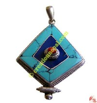 Diamond cut Tibetan pendant