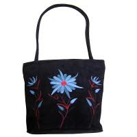Floral emb  faux suede totes bag
