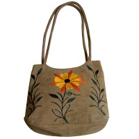 Faux suede tree-flower tote bag