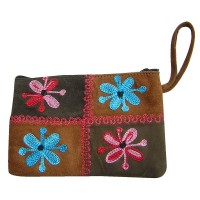Leather suede patch-work purse