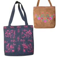 Embroidered  faux suede tote bag