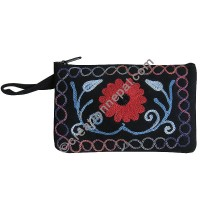 Faux suede floral medium purse