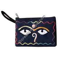 Faux suede Buddha eye purse