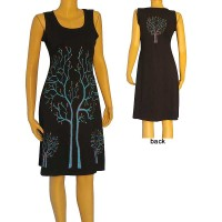 Trees print embroidered dress