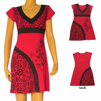 Prints and plain sleeveless dress