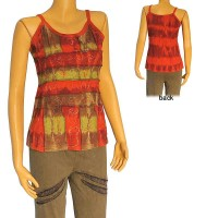 Tie-dye patch work embroidered rib tank top