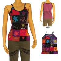 Hand embroidered squares patch work rib tank top