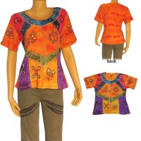 Tie-dye patch hand embroiderd brush painted rib T-shirt
