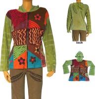 Tie-dye base patch work hoodie
