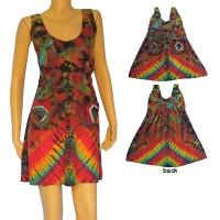 Tie-dye thin rayon halter dress