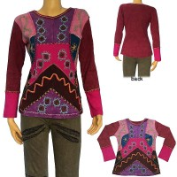Hand embroidered multi shape patch rib T-shirt