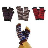 Assorted color single ply woolen tube gloves
