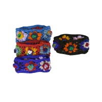 3-layer flowers woolen net headband
