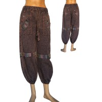 Embroidered patch deco cotton trouser