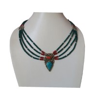 Turquoise pote Tibetan necklace