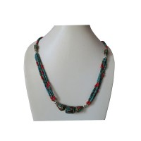 Pote and decorated beads Tibetan necklace