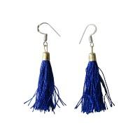 Blue color silk yarn earring